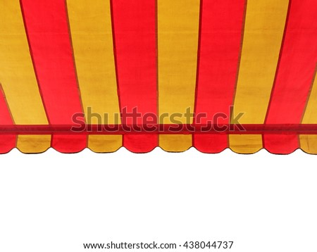 A colorful stripe canopy awning isolated on white background. - stock photo