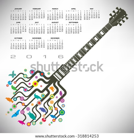 A 2016 Colorful, whimsical, funky guitar calendar - stock photo