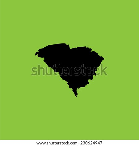 A Coloured background with the shape of the united states state of South Carolina - stock photo