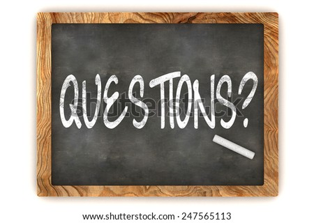 A Colourful 3d Rendered Blackboard Illustration Showing 'Questions?' - stock photo