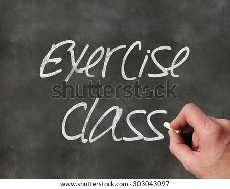 A Colourful 3d Rendered Concept Illustration showing a hand writting on a  blackboar, Exercise Class - stock photo