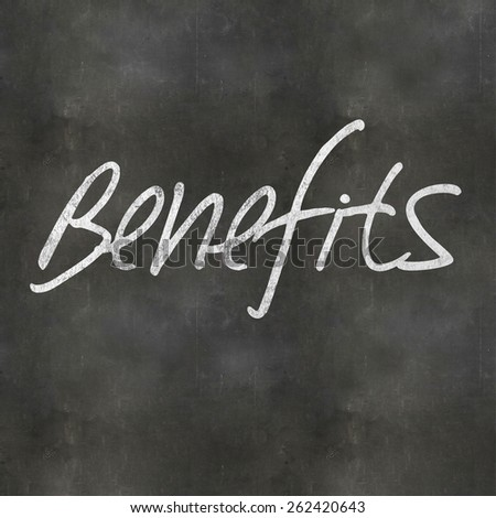 A Colourful 3d Rendered Concept Illustration showing Benefits written on a Blackboard - stock photo