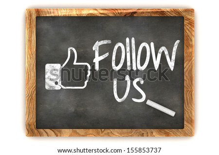 "A Colourful 3d Rendered Concept Illustration showing ""Follow us"", as used on social networks writen on a Blackboard with white chalk - stock photo"