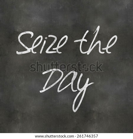 A Colourful 3d Rendered Concept Illustration showing Seize the Day written on a Blackboard - stock photo