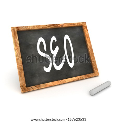 "A Colourful 3d Rendered Concept Illustration showing ""SEO"" writen on a Blackboard with white chalk - stock photo"