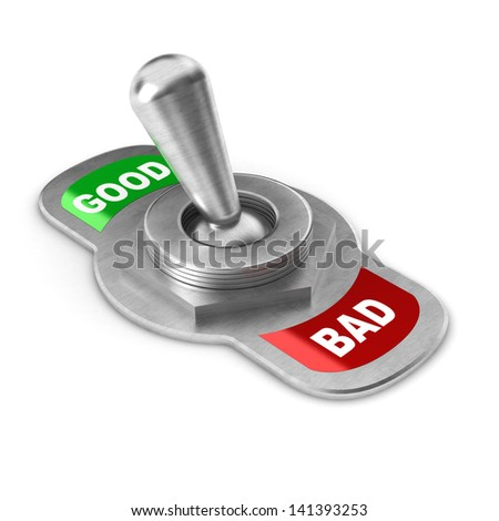 A Colourful 3d Rendered Good vs Bad Concept Switch - stock photo