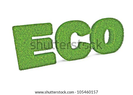 A Colourful 3d Rendered Green Eco Concept Illustration - stock photo