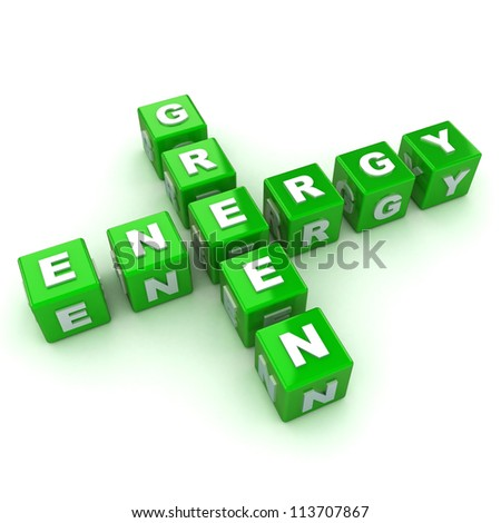 A Colourful 3d Rendered Green Energy Crossword Concept Illustration - stock photo