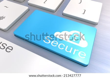 A Colourful 3d Rendered Illustration showing a Cloud Secure Concept on a Computer Keyboard - stock photo