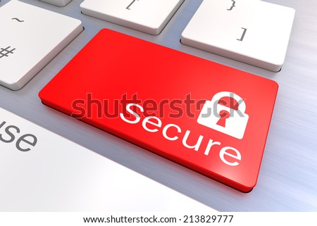 A Colourful 3d Rendered Illustration showing a Secure Security concept on a Computer Keyboard - stock photo