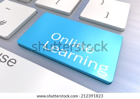 A Colourful 3d Rendered Illustration showing an Online Learning Concept on a Computer Keyboard - stock photo