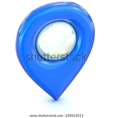 A Colourful 3d Rendered Map or GPS Marker Icon - stock photo