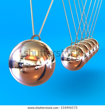 A Colourful 3d Rendered Newtons Cradle Illustration against a Blue Background - stock photo