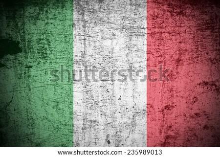 A Colourful Grunge style Italian Flag Illustration - stock photo