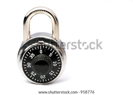 a combination lock on a white background. Space for copy. - stock photo