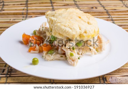A comfort food plate with chicken and dumplings. - stock photo