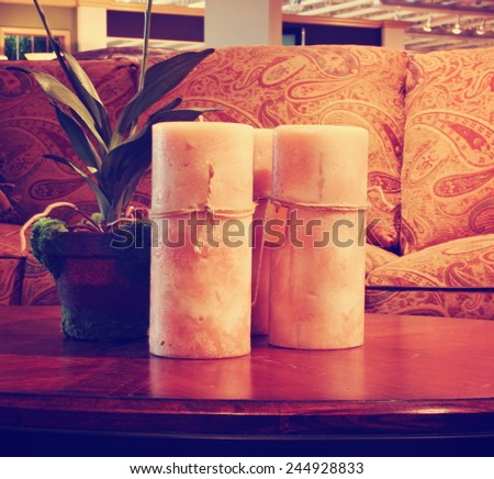 a comfortable cozy interior close up of a living room space toned with a retro vintage instagram filter effect - stock photo