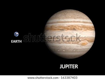 A comparison between the planets Earth and Jupiter on a clean black background with english captions. - stock photo