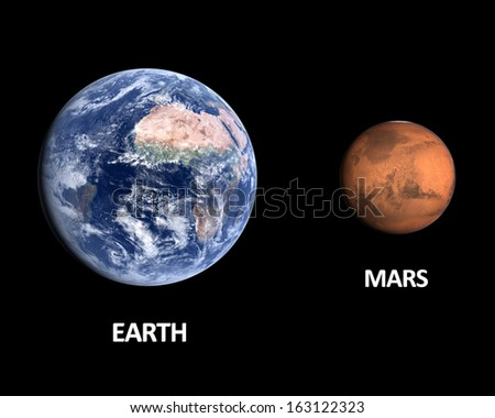 A comparison between the planets Earth and Mars on a clean black background with english captions. - stock photo