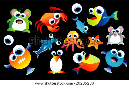 A complete colorful set of funny cartoon animals - stock photo