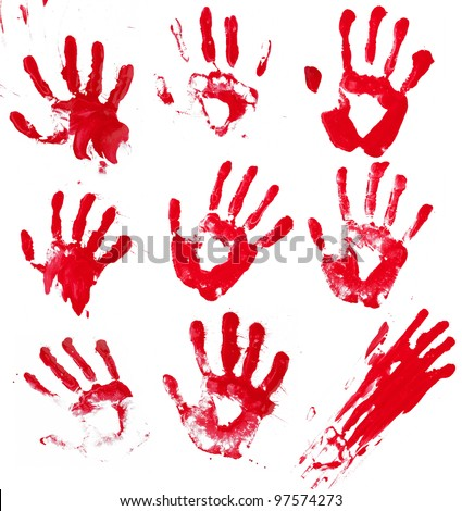 A composite of 9 bloody hand prints isolated on white. - stock photo