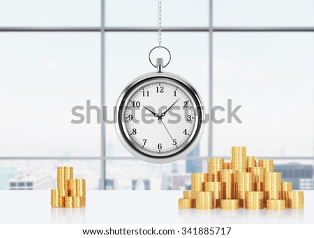 A composition of golden coins and hanging on the chain pocket watch. New York panoramic office on background. A concept of time is money or a value of time in business. 3D rendering. - stock photo
