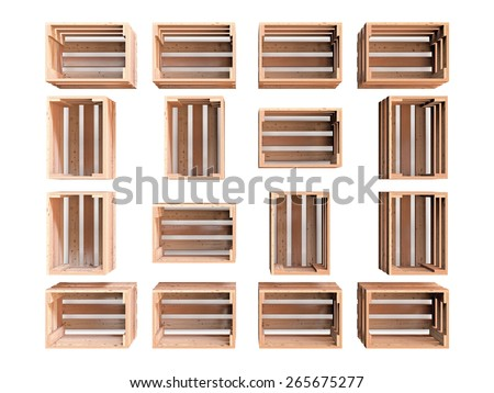 A composition of  isolated empty wooden fruit crates - stock photo