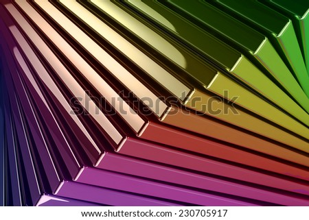 A computer-generated background of stacked metallic reflective rainbow colored squares - stock photo
