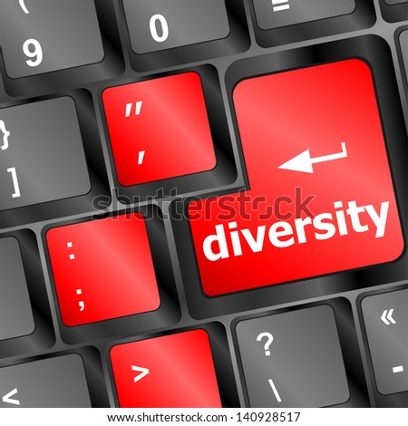 A computer keyboard with red keys spelling diversity, learn, raster - stock photo