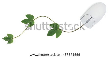 A computer mouse with a green vine as its cord symbolizing concepts from convergence of digital and green technologies to using an online gardening forum. Isolated on white with clipping path. - stock photo
