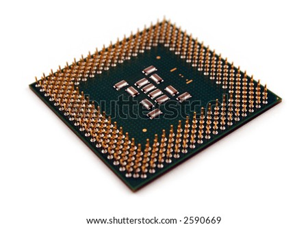 A computer processor on a white background. - stock photo