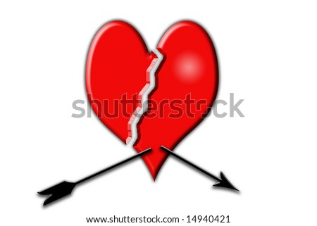A computer rendered image of a broken heart - stock photo