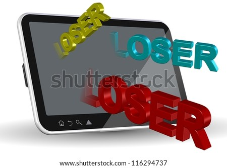 A computer tablet and words spelling loser coming out of it / Internet bullying - stock photo
