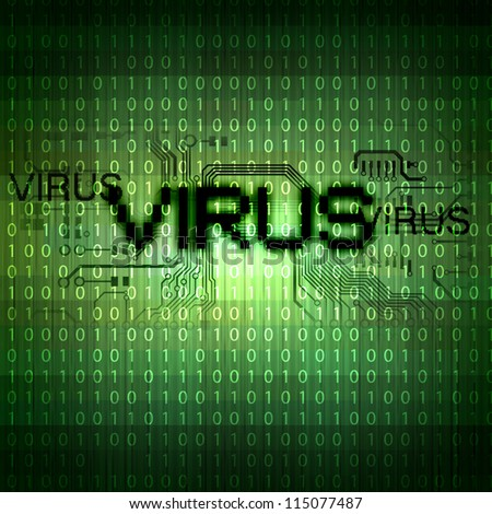 A computer virus detection symbol illustration with word Virus - stock photo