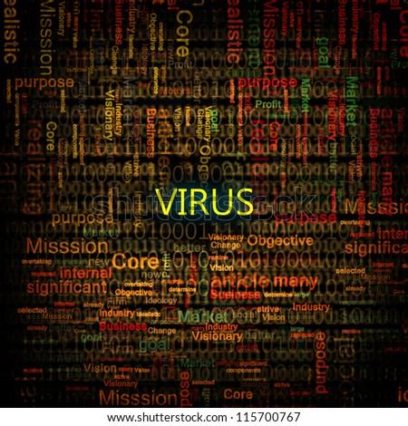 A computer virus detection symbol illustration with word Virus - stock photo