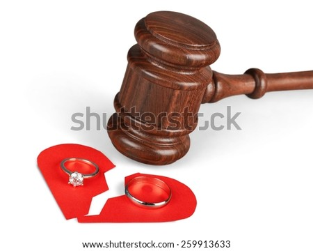 A concept based on the legalities of divorce.  - stock photo