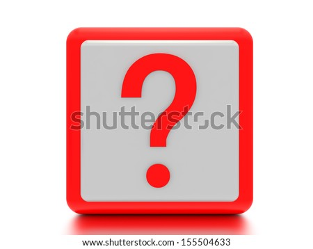 A concept graphic depicting a question mark in a box. Rendered against a white background with a soft shadow and reflection.  - stock photo