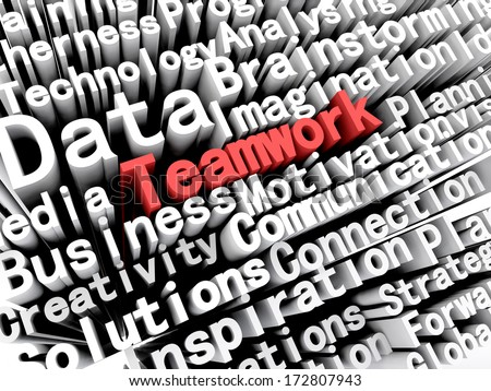 """A concept graphic depicting business words aligned next to each other with the word """"teamwork"""" written in red . Rendered against a white background with a soft shadow. - stock photo"""