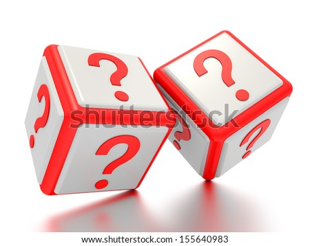 A concept graphic depicting question mark boxes. Rendered against a white background with a soft shadow and reflection.  - stock photo