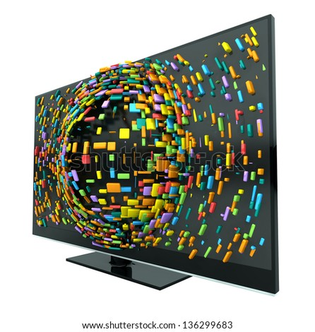 A concept of a flat screen television  with colorful fragmented cubes emitting out of the screen on an isolated background - stock photo