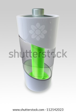 A concept of an environmentally friendly battery that produces green energy - stock photo
