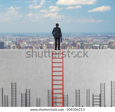 A concept of competition, and problem solving. City view background.  - stock photo