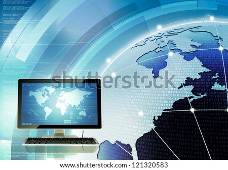 A concept of how computer connected and communicate around the world through internet and server. You can change the screen on main computer to suit your needs. - stock photo
