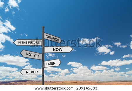 A concept of management strategy of business development. A road sign in a desert. - stock photo