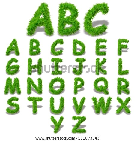 A concept or conceptual set or collection of green grass,eco font isolated on white background,ideal for nature,summer,spring,alphabet,ecology,environment,plant,abc,ecological,conservation design - stock photo