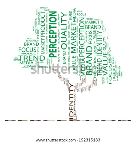 A concept or conceptual tree word cloud on white background as metaphor for business,brand,trend,quality, media,focus,market, value,product,advertising or customer.Also for corporate wordcloud - stock photo
