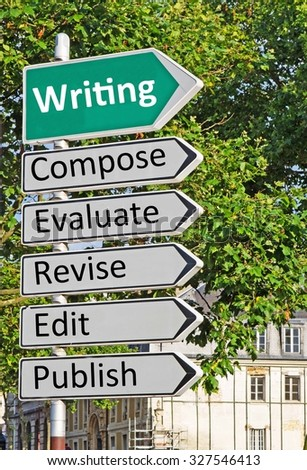 A concept road sign pointing in the direction of 'Writing' with some descriptive words underneath - stock photo