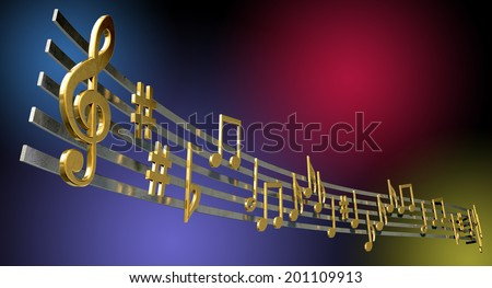 A concept showing literal gold metallic music symbols and notes on the five wavy octave lines on a jazzy colorful background - stock photo