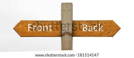 A concept signpost pointing to the front and the back - stock photo
