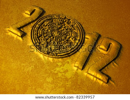 A conceptual 3d render of the Mayan calendar and 2012 year as if etched out of gold. Copy space - stock photo